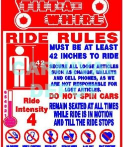 Tilt a Whirl Carnival Ride Safety Sign