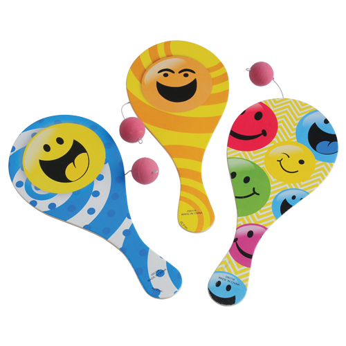 Smiley Face Paddle Balls