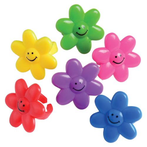 Smile Face Flower Rings