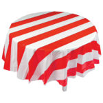 Red & White Striped Round Plastic Tablecloth